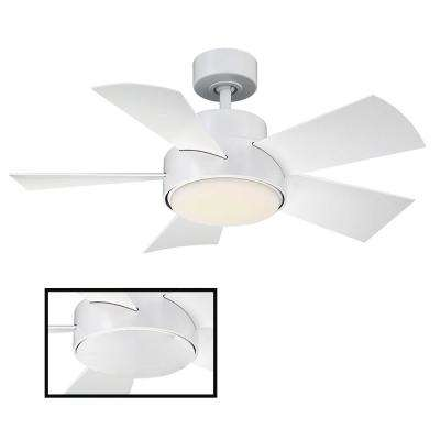 Elf 38 in. LED Indoor/Outdoor Matte White 5-Blade Smart Ceiling Fan with 3000K Light Kit and Wall Control
