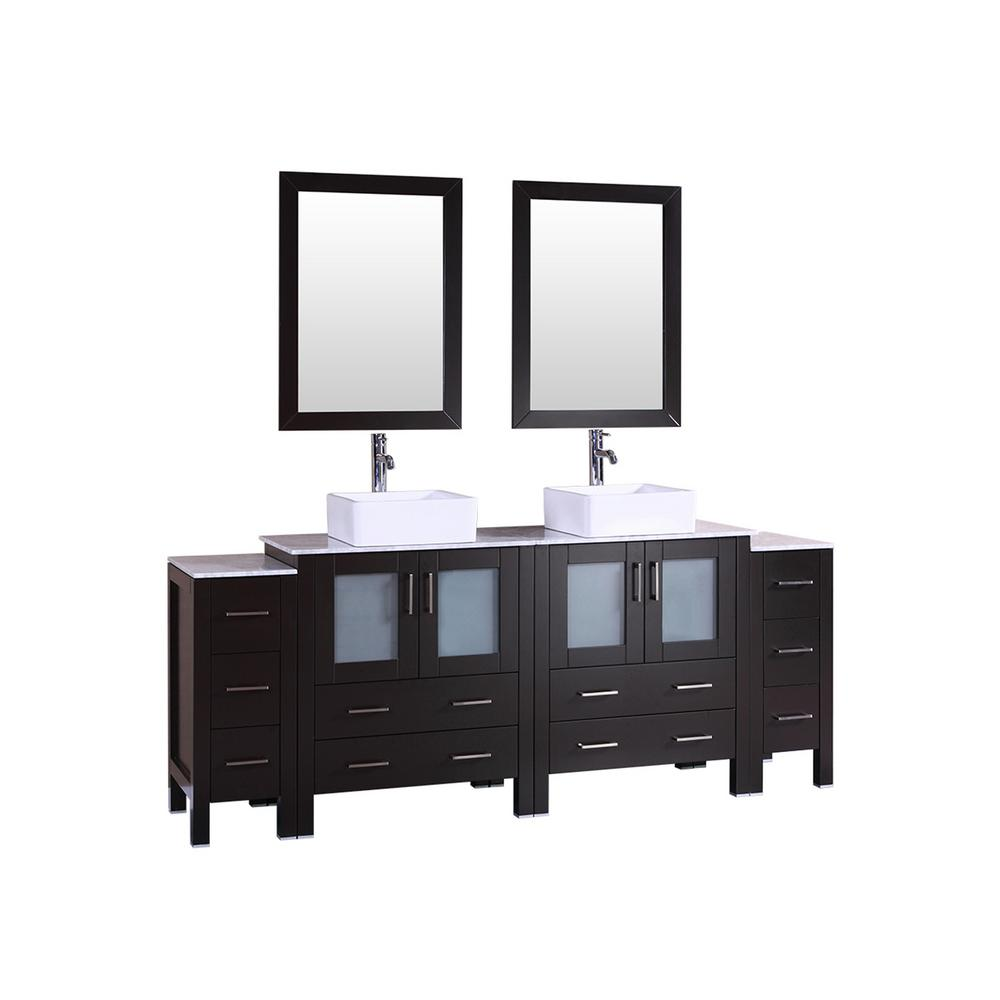 Bosconi 84 in. Double Vanity in Espresso w/ Carrara Marble Vanity Top in Gray w/ White Basin and Mirror