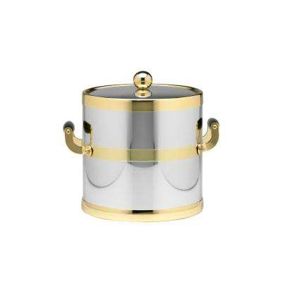 Americano 3 Qt. Polished Chrome & Brass Ice Bucket with Brass Lid, Wood Side Handles