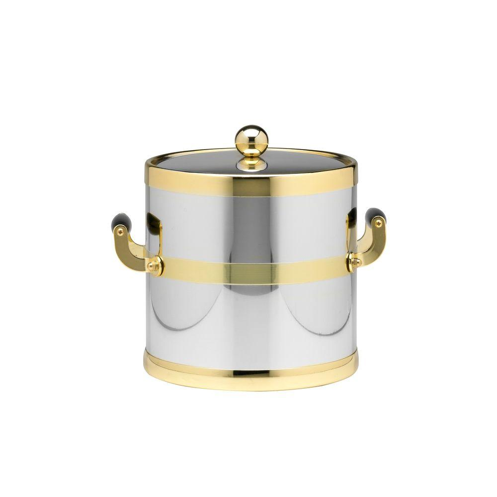 Americano 3 Qt. Polished Chrome & Brass Ice Bucket with Brass