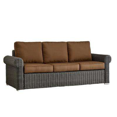 Camari Charcoal Rolled Arm Wicker Outdoor Sofa with Brown Cushion