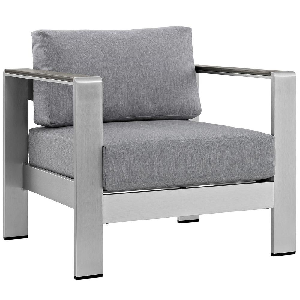 Beau MODWAY Shore Patio Aluminum Outdoor Lounge Chair In Silver With Gray  Cushions