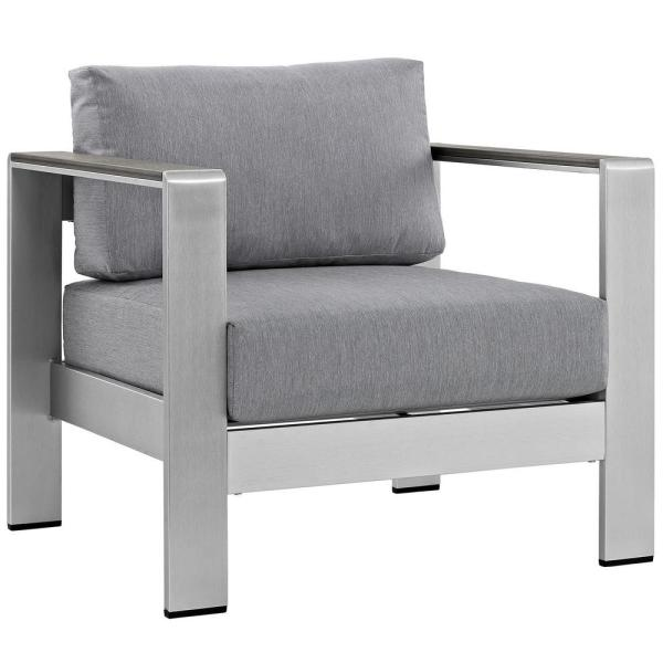 Shore Patio Aluminum Outdoor Lounge Chair in Silver with Gray Cushions