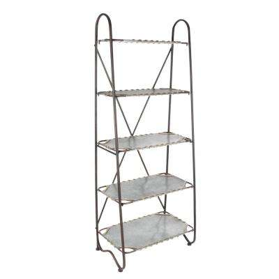8 in. L x 22 in. W Modern Gold-Finished Iron and Acrylic Shelf