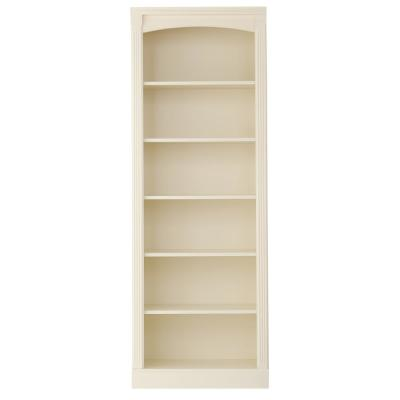 78 in. White Wood 6-shelf Etagere Bookcase with Adjustable Shelves