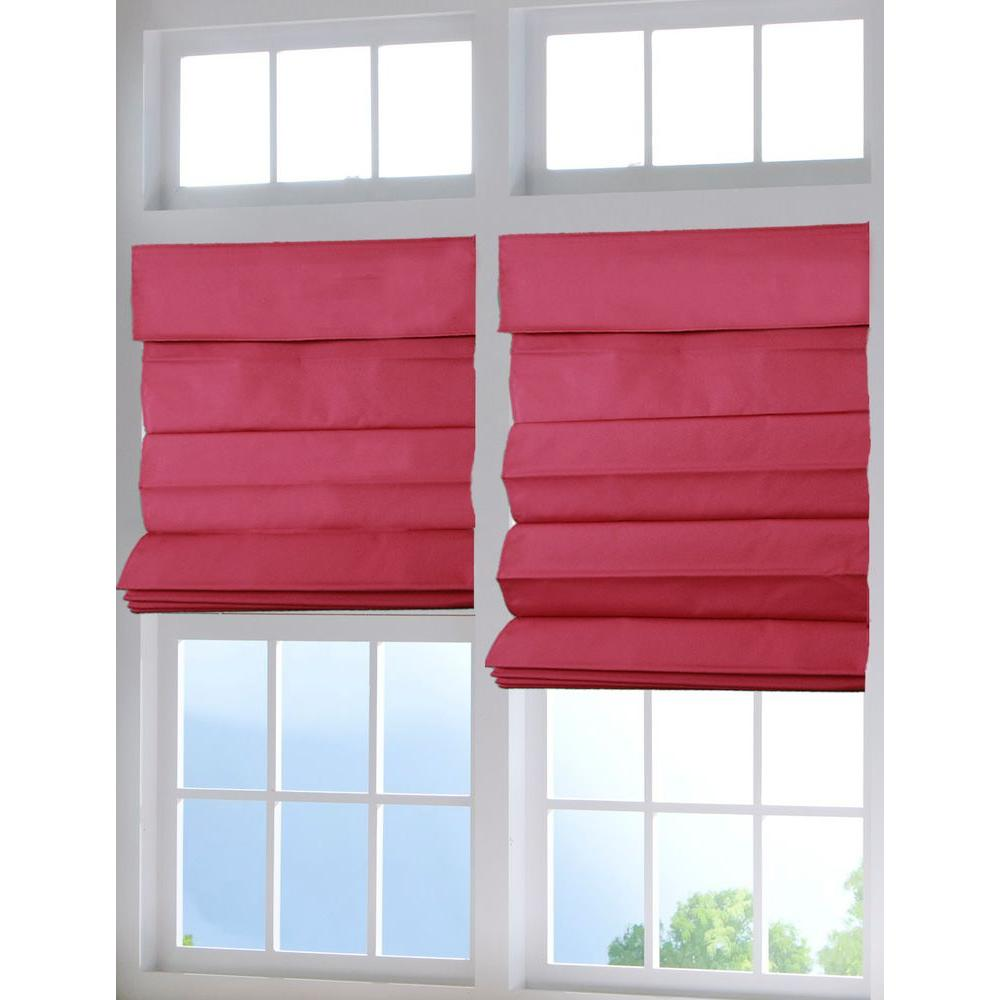 Red Cordless Fabric Roman Shade - 58 in. W x 64
