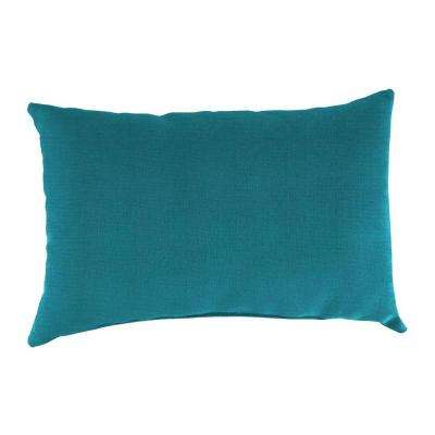 Sunbrella 9 in. x 22 in. Spectrum Peacock Lumbar Outdoor Pillow