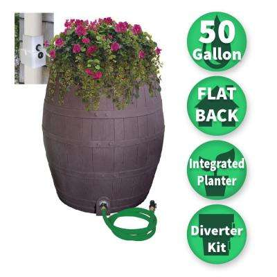50 Gal. Solid Brown Flat Back Whiskey Rain Barrel with Integrated Planter and Diverter System