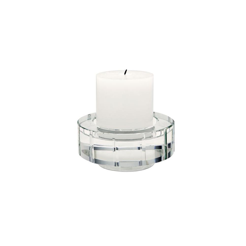 Titan lighting round windowpane crystal large candle holder set of 2