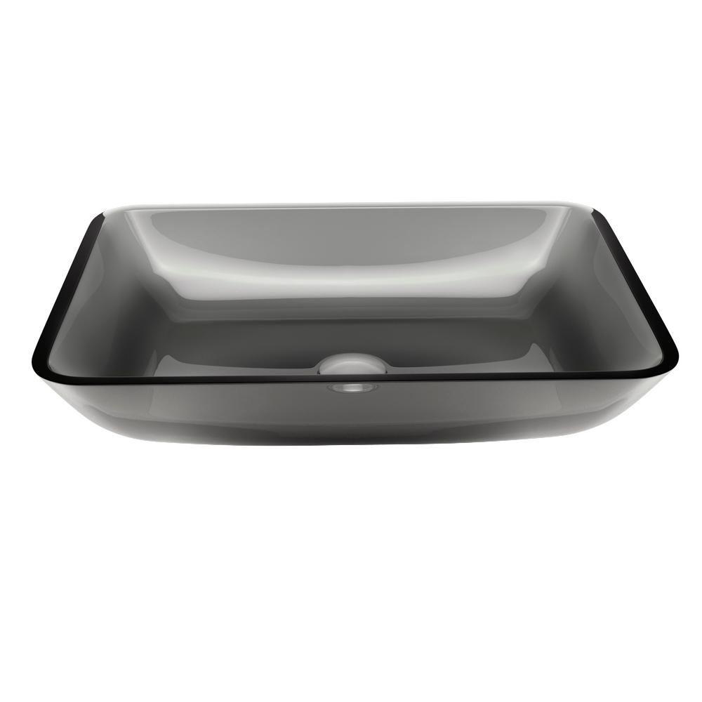 Vigo Rectangular Sheer Black Gl Vessel Bathroom Sink