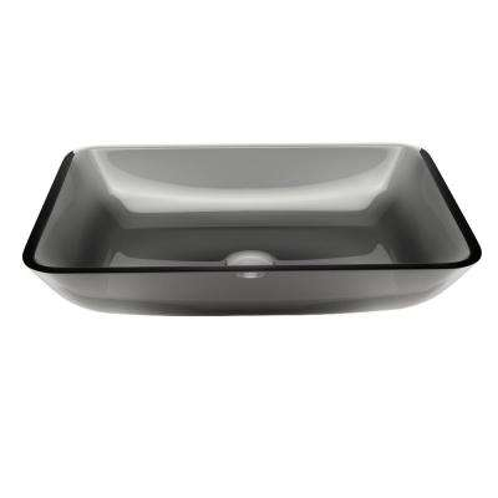 Rectangular Sheer Black Glass Vessel Bathroom Sink