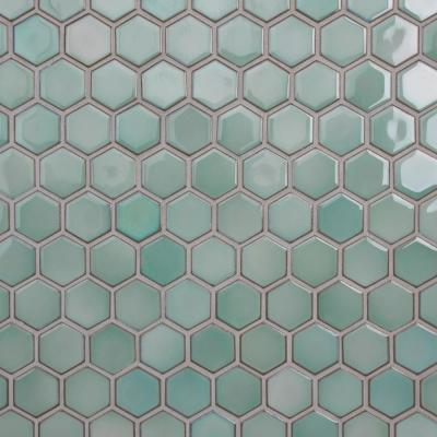 Hudson 2 in. Due Hex Mint Green 12.50 in. x 11.25 in. Porcelain Mosaic (9.97 sq. ft./Case)