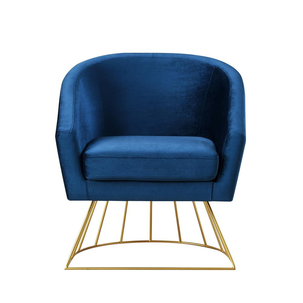 Inspired home esmeralda velvet navy gold modern contemporary barrel accent chair with metal base
