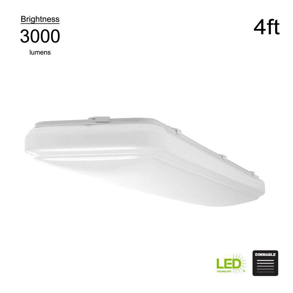 Hampton Bay Wrap Style 4 ft. Rectangular White 64 Watt Equivalent Integrated LED Flushmount (Bright/Cool White, Dimmable)