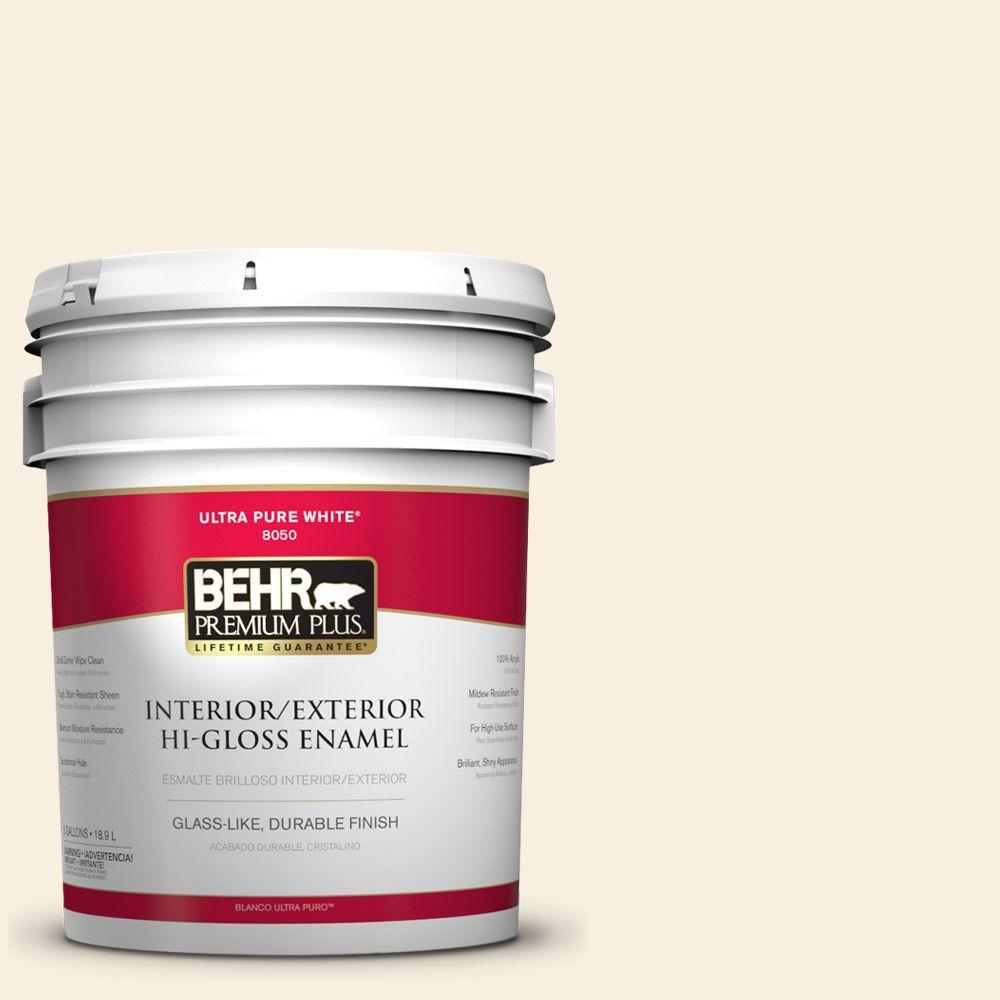BEHR Premium Plus 5-gal. #W-F-300 Cotton Whisper Hi-Gloss Enamel Interior/Exterior Paint