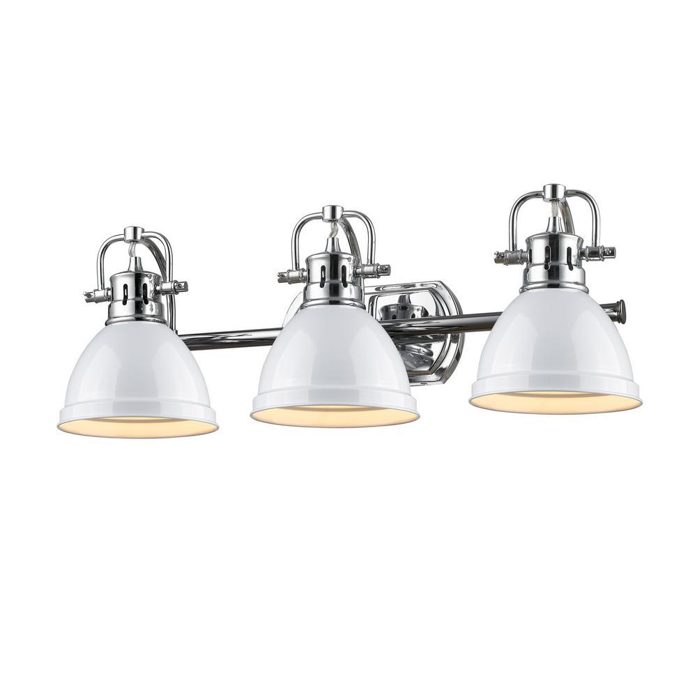 Duncan 3-Light Chrome Bath Light with White Shade  sc 1 st  Home Depot & Blue - Vanity Lighting - Lighting - The Home Depot azcodes.com