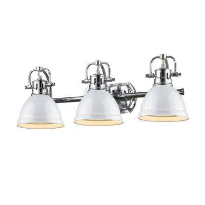 Duncan 3-Light Chrome Bath Light with White Shade
