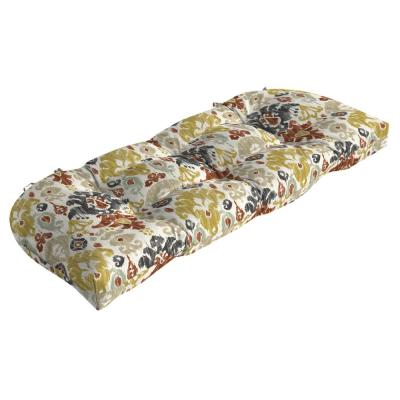 41.5 x 18 Topaz Kenda Ikat Contoured Outdoor Bench Cushion