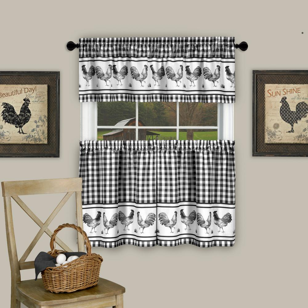 Achim Barnyard Black Polyester Tier and Valance Curtain Set - 58 in. W x 24 in. L