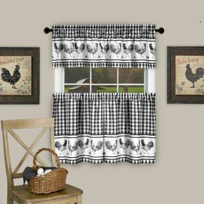 Barnyard Black Polyester Tier and Valance Curtain Set - 58 in. W x 36 in. L