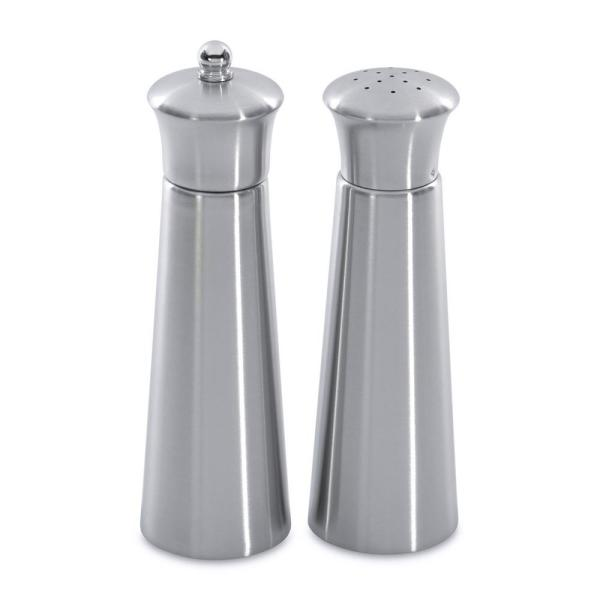 BergHOFF Straight Line Pyramid Stainless Steel 2-Piece Salt and Pepper Mill