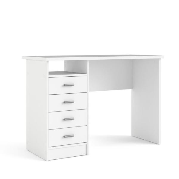 Tvilum 44 In Rectangular White 4 Drawer Writing Desk With Built In Storage 8014649 The Home Depot