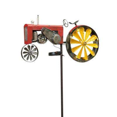 63 in. Tall Solar Powered Antique-Style Metal Tractor Yard Stake with Wind Spinner