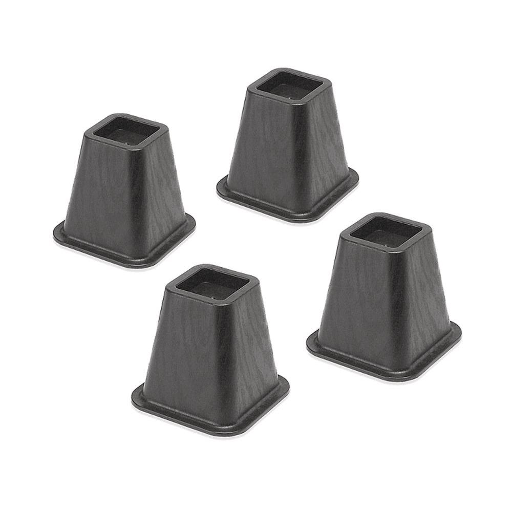 Whitmor Black Plastic Bed Risers Set Of 4 6511 3349 Blk The Home