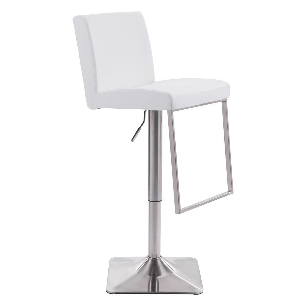 Zuo Puma Adjustable Height White Cushioned Bar Stool 100311 The