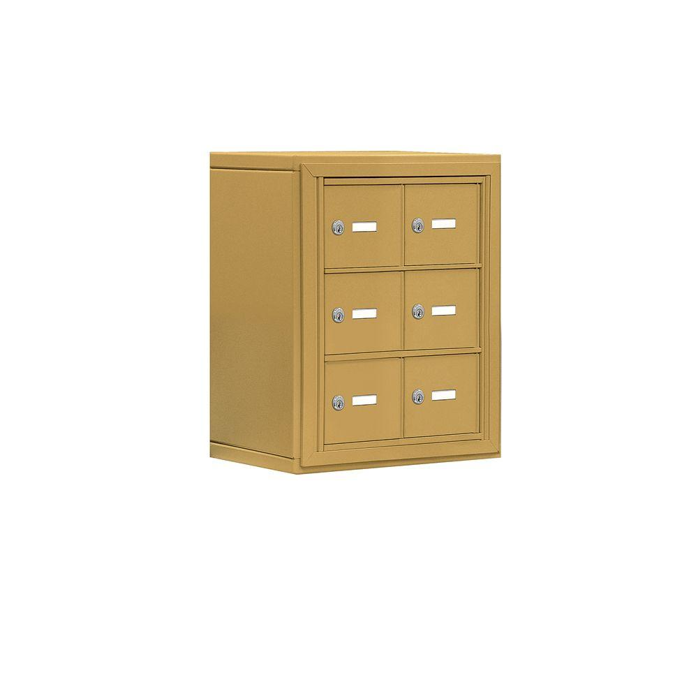 Salsbury Industries 19000 Series 17.5 in. W x 20 in. H x 9.25 in. D 6 A Doors S-Mount Keyed Locks Cell Phone Locker in Gold