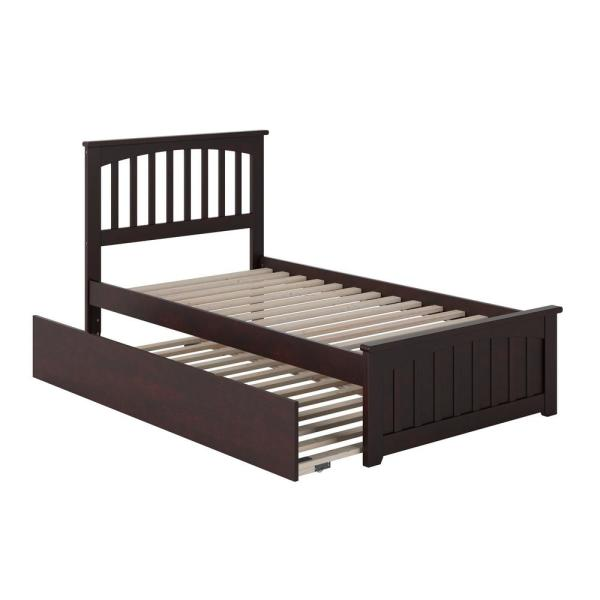 Mission Twin Extra Long Bed with Matching Footboard and Twin Extra Long Trundle in Espresso