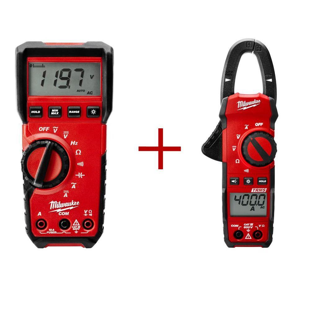 Milwaukee Digital Multimeter with 400 Amp Clamp Meter Value Bundle