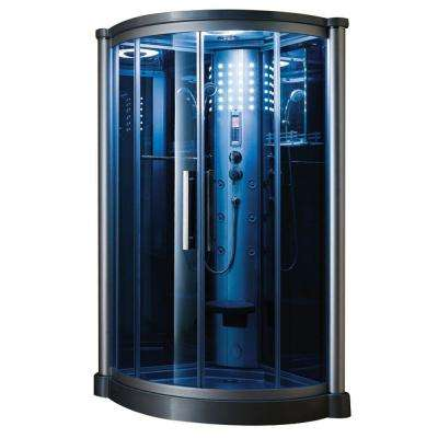 40 in. x 40 in. x 85 in. Steam Shower Enclosure Kit in Blue