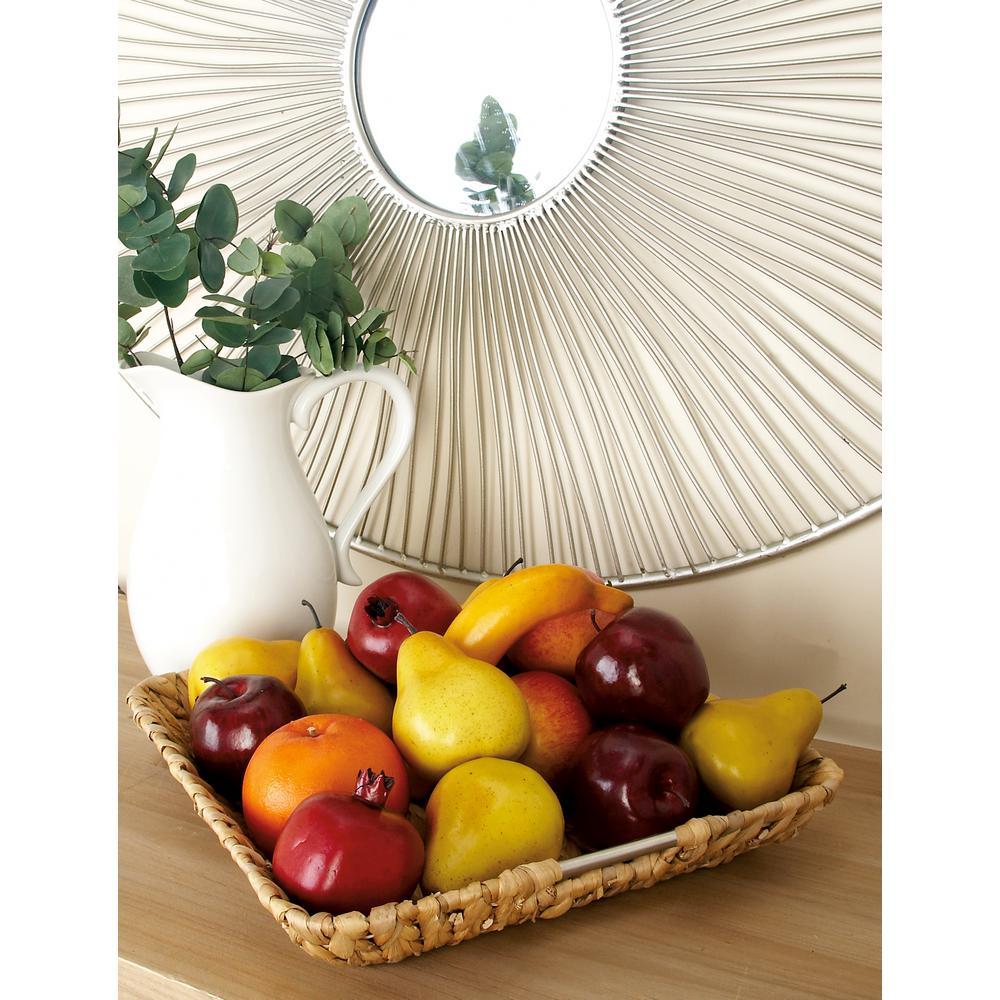 18 in. x 3 in. Multi-Colored 3-Door Mango Wood Basket