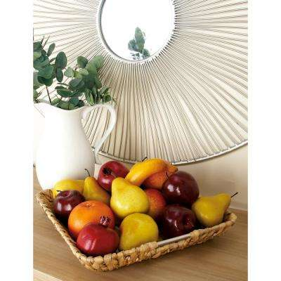 18 in. x 3 in. Multi-Colored 3-Door Mango Wood Basket