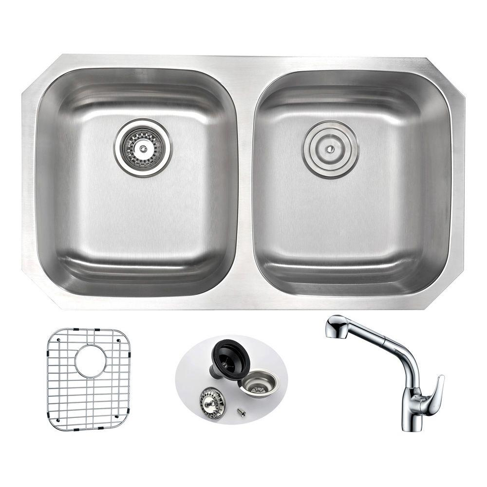 Moore Undermount Stainless Steel 32 in. Double Bowl Kitch...