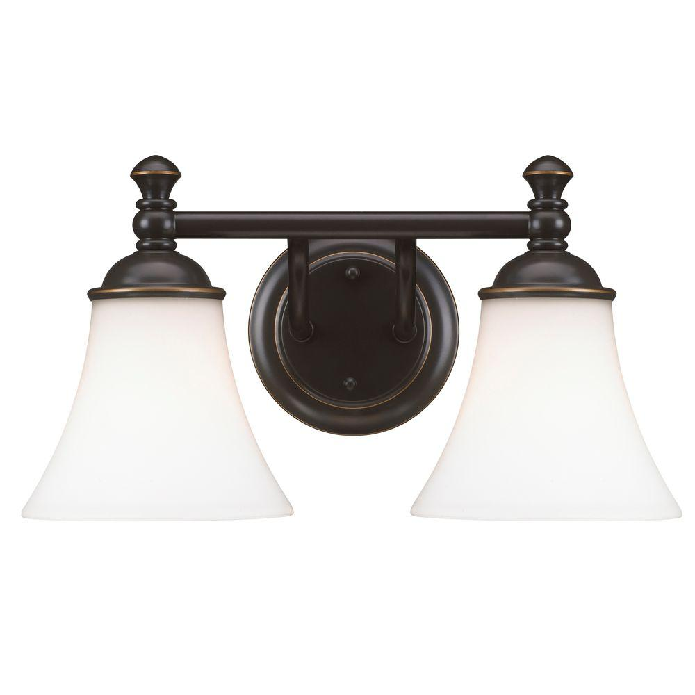 Hampton Bay 3 Light Oil Rubbed Bronze Vanity With Frosted Patterned Glass Shade Wb1001 Vf The Home Depot