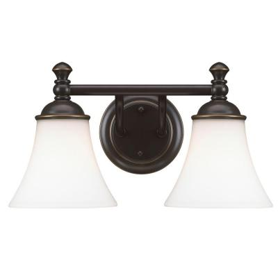 Crawley 2-Light Oil-Rubbed Bronze Vanity Light with White Glass Shades