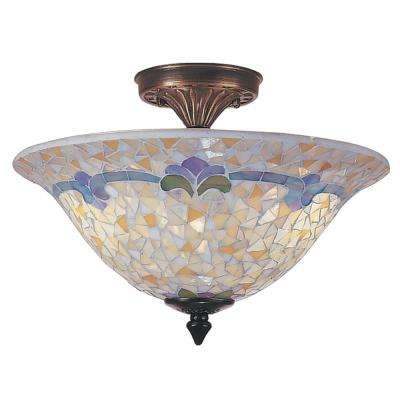 Johanna Mosaic 3-Light Antique Brass Finish Semi-Flushmount