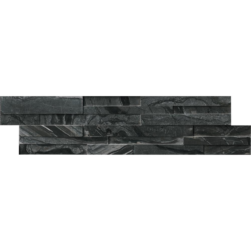 MSI Glacial Black 3D Ledger Panel 6 in. x 24 in. Honed Marble Wall Tile (10 cases / 60 sq. ft. / pallet)