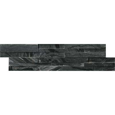 Glacial Black 3D Ledger Panel 6 in. x 24 in. Honed Marble Wall Tile (10 cases / 60 sq. ft. / pallet)