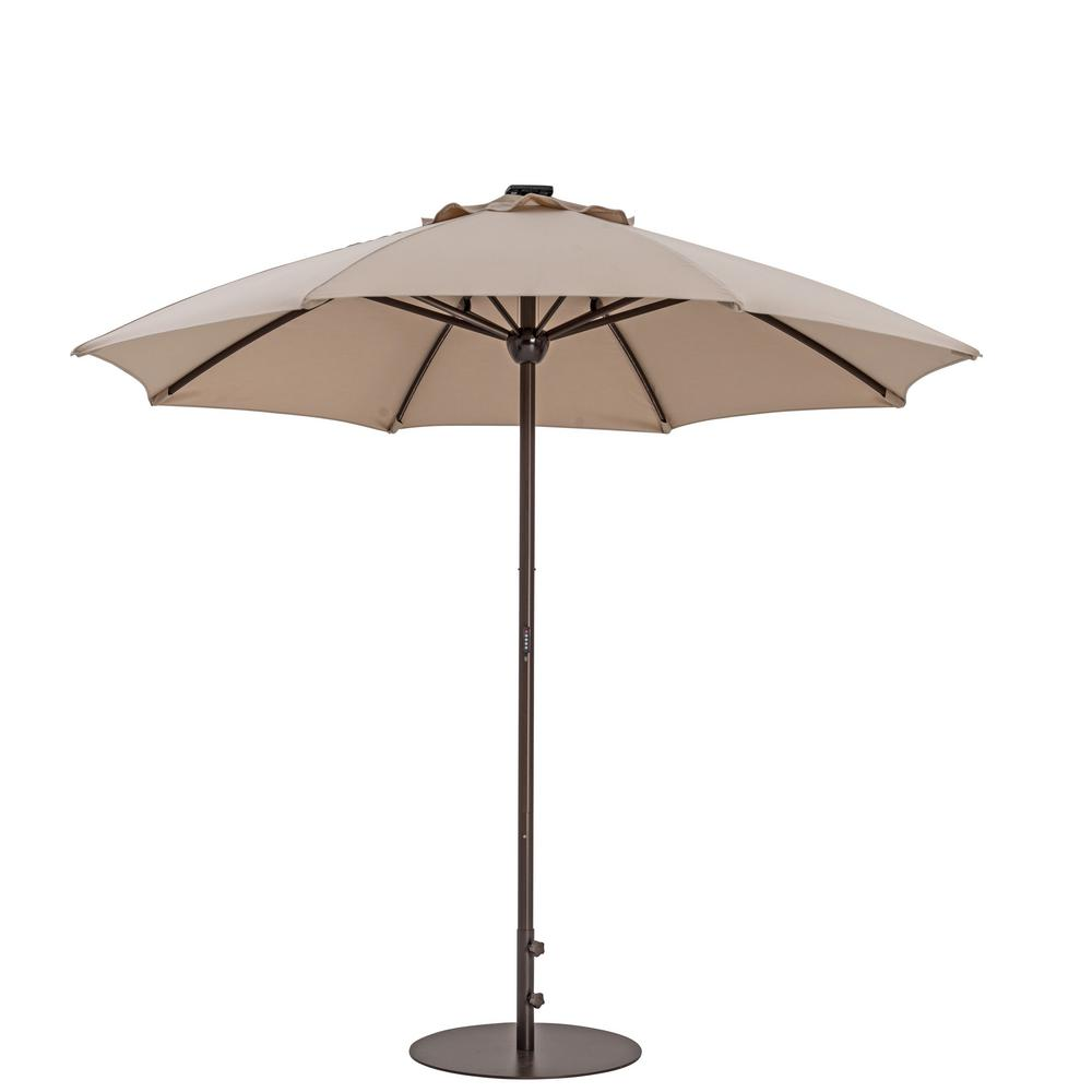 Automatic Market Patio Umbrella With Lights In Antique Beige