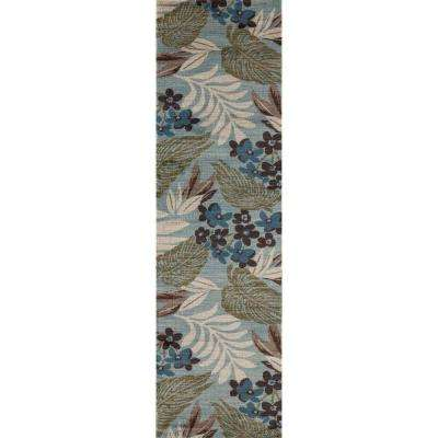 Palm Coast Tranquil Blue 2 ft. x 8 ft. Runner Rug