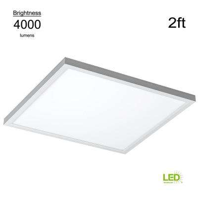 Commercial Drop Ceiling 2 ft. X 2 ft. White 5000K Dimmable Integrated LED Flat Panel Troffer (2 Pack)