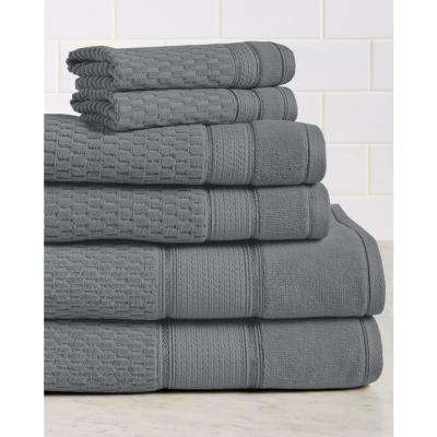 Royale 6-Piece 100% Turkish Cotton Bath Towel Set in Charcoal