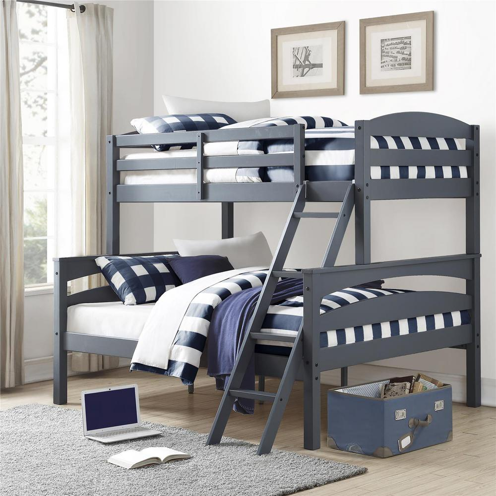 Twin Over Full Gray Wood Bunk Bed Brady