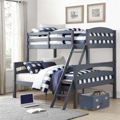 Brady Twin Over Full Gray Wood Bunk Bed