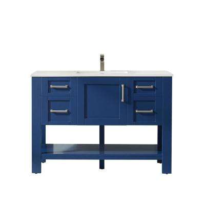 Grayson 48 in. Bath Vanity in Blue with Manufactured Stone Vanity Top in White with White Basin