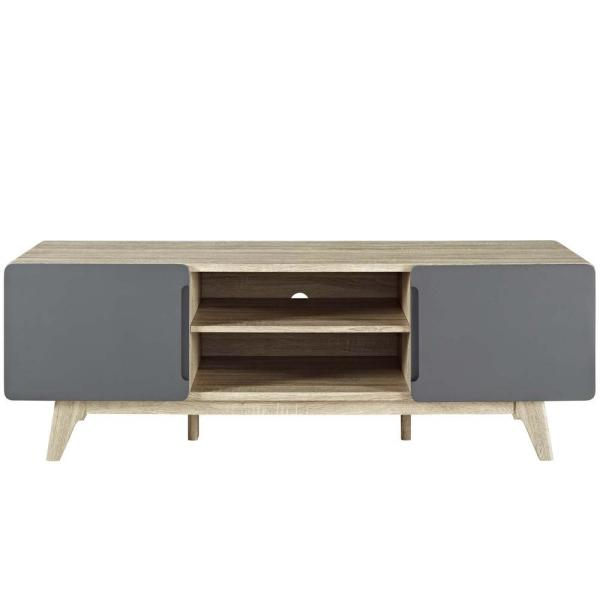 Tread 59 in. Natural Gray Wood TV Stand Fits TVs Up to 65 in. with Storage Doors