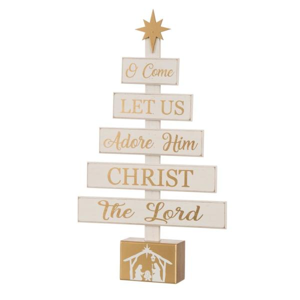 Glitzhome 17 83 In H Nativity Wooden Table Tree Decor 1114203439 The Home Depot